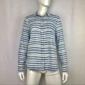 J Crew Boy Long Sleeve Blue White Striped Blouse